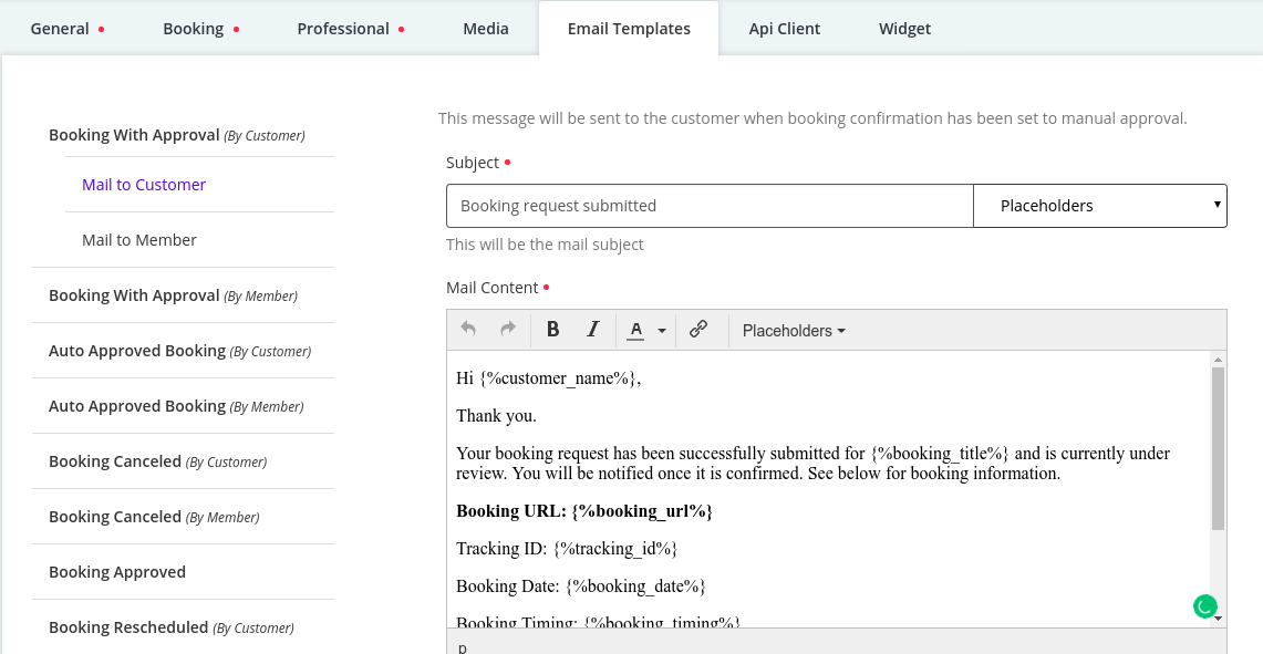 Configure Email Template